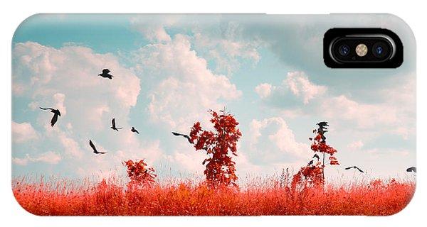 Crow iPhone Case - Photo Of Summer Landscape Shot In The by Skreidzeleu