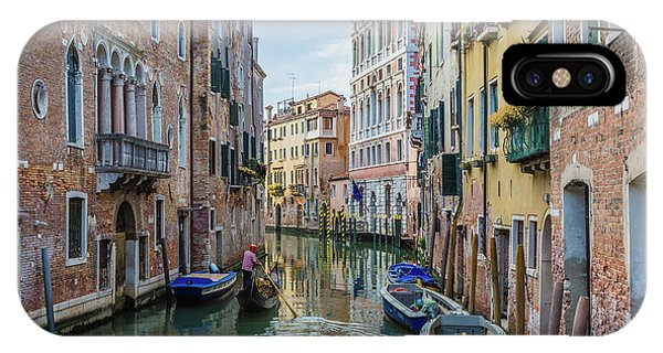 Gondolier On Canal Venice Italy IPhone Case