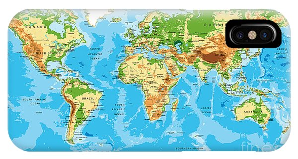 Physical iPhone Case - Physical Map Of The World by Serban Bogdan