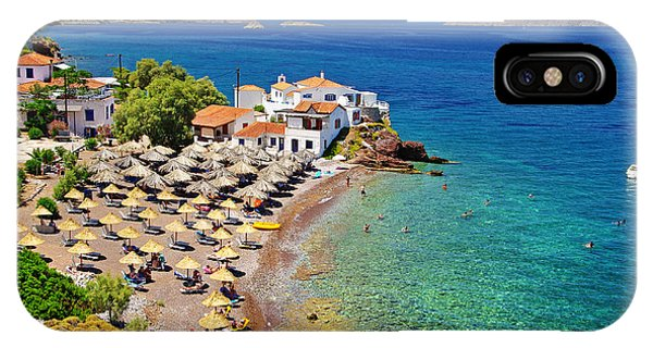 Hotel iPhone Case - Pictorial Beaches Of Greece - Hydra by Leoks