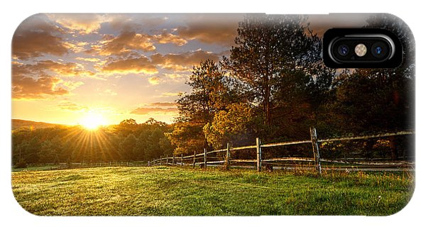 Estate iPhone Case - Picturesque Landscape, Fenced Ranch At by Gergely Zsolnai