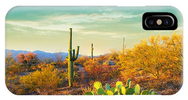 Dusk iPhone Case - Picturesque, Serene Sunset In Saguaro by Katrina Leigh