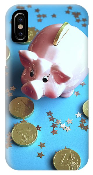 Piggy Bank On The Background With The  Chocoladen Coins IPhone Case
