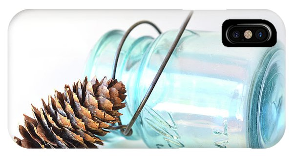 IPhone Case featuring the photograph Pine Cone And A Jar by Michelle Wermuth