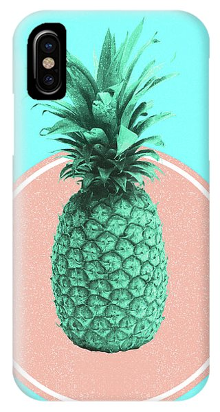 Pastel Colors iPhone Case - Pineapple Print - Tropical Decor - Botanical Print - Pineapple Wall Art - Blue - Minimal, Modern by Studio Grafiikka
