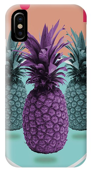 Violet iPhone Case - Pineapple Print - Tropical Decor - Botanical Print - Pineapple Wall Art - Brown, Blue - Minimal by Studio Grafiikka