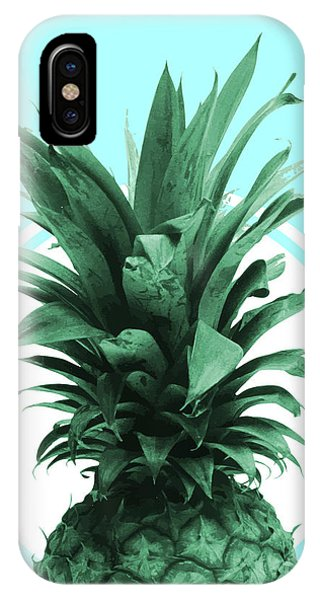 Pastel Colors iPhone Case - Pineapple Print - Tropical Wall Art - Botanical Print - Pineapple Poster - Blue - Minimal, Modern by Studio Grafiikka