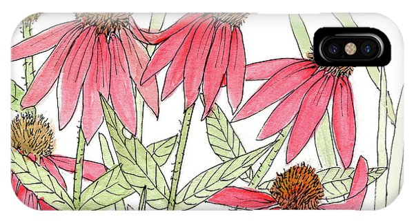 Pink Coneflowers Gather Watercolor IPhone Case