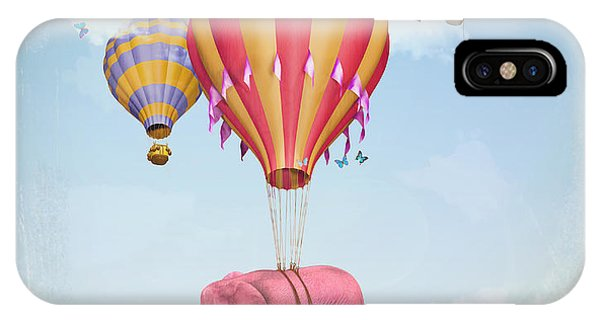 Illusion iPhone Case - Pink Elephant In The Sky With Balloons by Ganna Demchenko