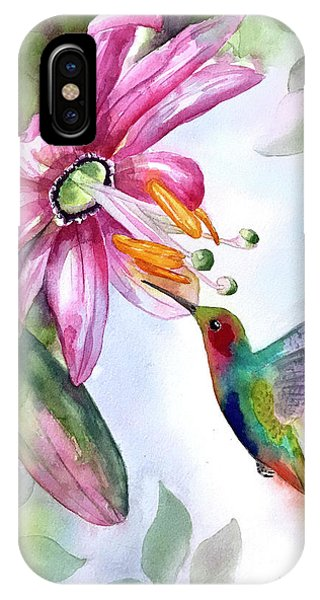 Pink Flower For Hummingbird IPhone Case