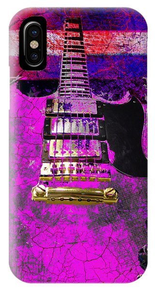 Pink Guitar Against American Flag IPhone Case