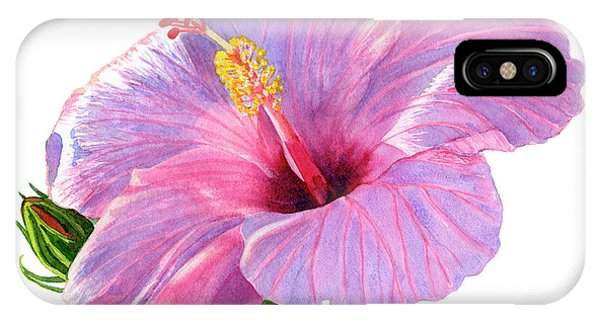 Hibiscus Flower iPhone Case - Pink Hibiscus Blossom With Blue Shadows by Sharon Freeman