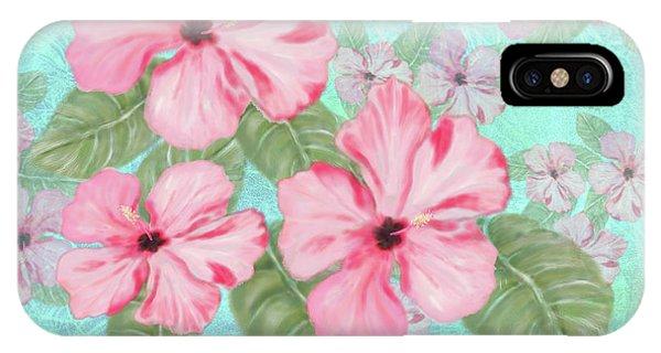 Pink Hibiscus Print On Aqua IPhone Case