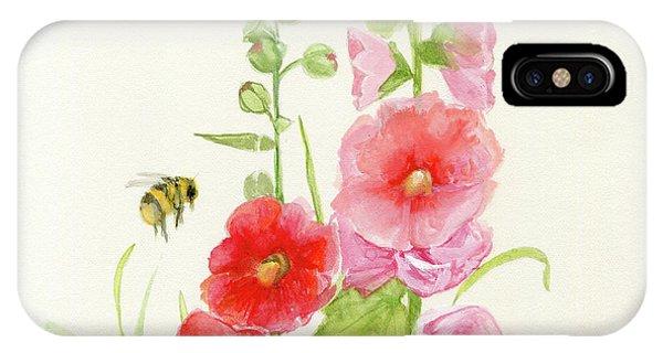Pink Hollyhock Watercolor IPhone Case