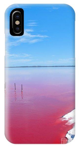 Red Rock iPhone X Case - Pink Lake, Western Australia. This Lake by Konrad Mostert