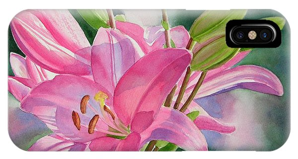Lily iPhone Case - Pink Lily With Buds by Sharon Freeman