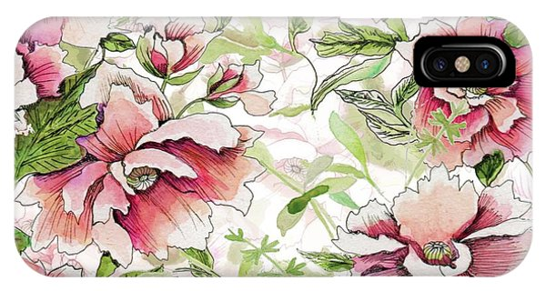 Pink Peony Blossoms IPhone Case