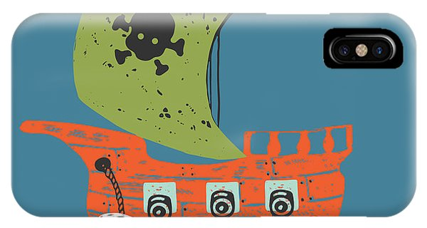 Schooner iPhone Case - Pirate Shiphand Drawn Vector by Eteri Davinski
