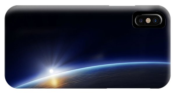 Solar System iPhone Case - Planet Earth With Rising Sun In Space by Johan Swanepoel