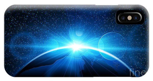Space iPhone Case - Planet Earth With Sunrise In Space by Pasko Maksim