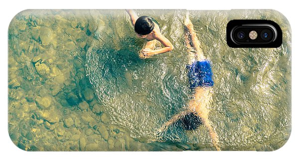 Poor iPhone Case - Playful Children Swimming In Nam Song by View Apart