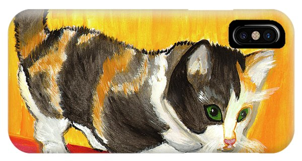 IPhone Case featuring the painting Playful Kitten by Dobrotsvet Art