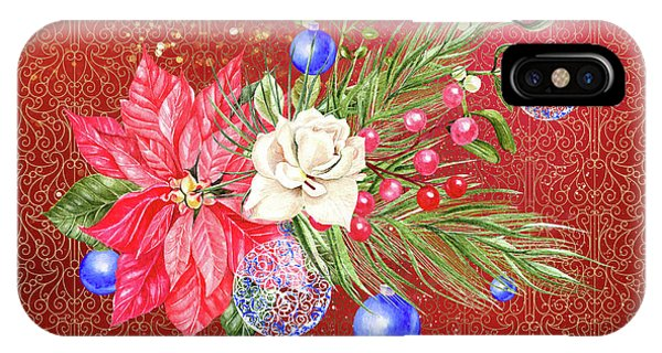 Poinsettia With Blue Ornaments  IPhone Case