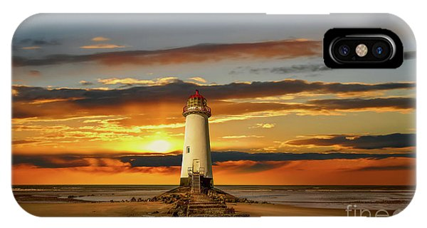 Navigation iPhone Case - Point Of Ayr Lighthouse Sunset by Adrian Evans