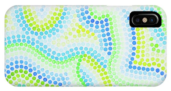 Pointillism - Blue And Green Curves IPhone Case