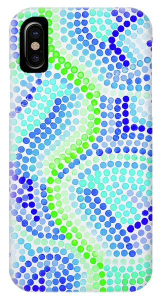 Pointillism On Half A Steroid - Blue And Green IPhone Case
