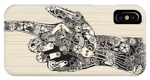 Ink iPhone Case - Pointing Finger Mechanic Hand by Ryger