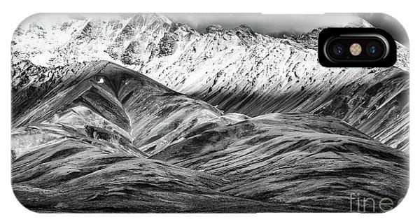 Polychrome Mountain, Denali National Park, Alaska, Bw IPhone Case