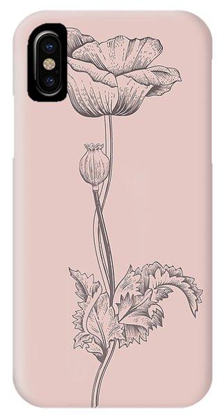 Bouquet iPhone X Case - Poppy Blush Pink Flower by Naxart Studio
