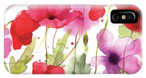 Contemporary Floral iPhone Case - Poppy I by P.s. Art