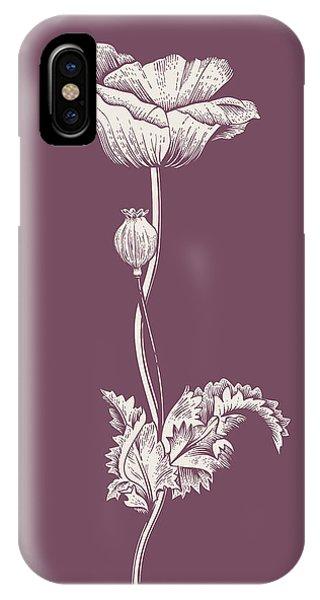 Bouquet iPhone X Case - Poppy Purple Flower by Naxart Studio