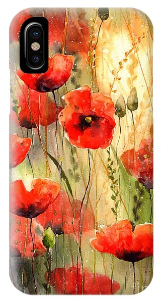 Red Heart iPhone Case - Poppy Serenade by Suzann Sines