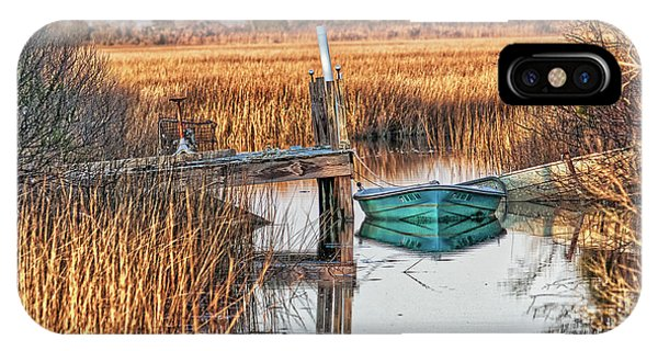 Poquoson Marsh Boat IPhone Case