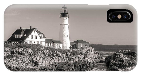 IPhone Case featuring the photograph Portland Head Light Black And White by Dan Sproul