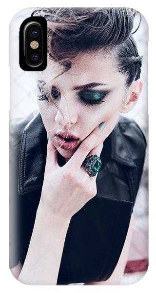 Punk Rock iPhone Case - Portrait Of A Beautiful Brunette Girl by Yuliya Yafimik