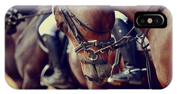 Strength iPhone Case - Portrait Of A Sports Stallion. Riding by Elya Vatel