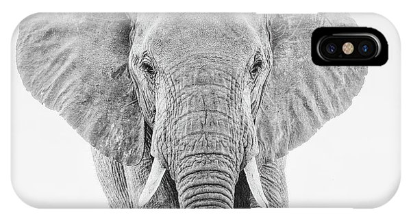 Portrait Of An African Elephant Bull In Monochrome IPhone Case