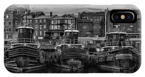 Portsmouth Tugboats At Dawnt In Black And White IPhone Case