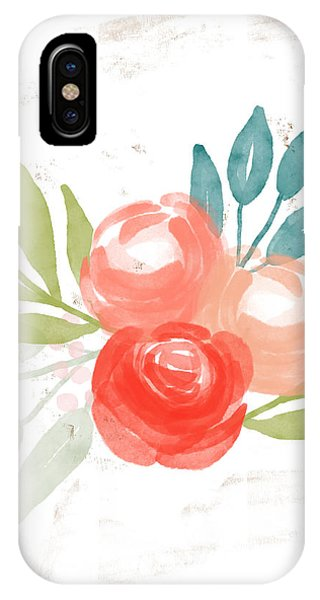 Leaf iPhone Case - Pretty Coral Roses - Art By Linda Woods by Linda Woods