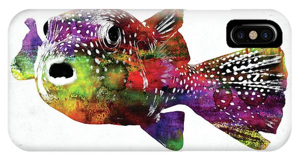 Dive iPhone Case - Puffer Fish Watercolor by Mihaela Pater