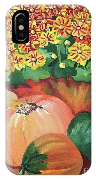 Pumpkin With Flowers IPhone Case