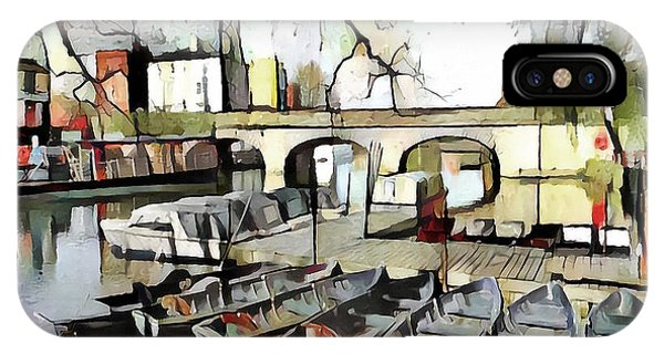 IPhone Case featuring the digital art Punting On The Thames - Watercolour by Pennie McCracken
