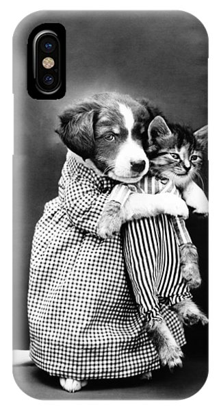 Novelty iPhone Case - Puppy Holding A Kitten - The Nurse - Harry Whittier Frees by War Is Hell Store