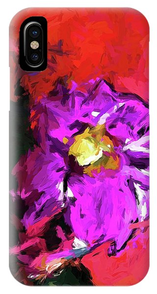 Purple And Yellow Flower And The Red Wall IPhone Case