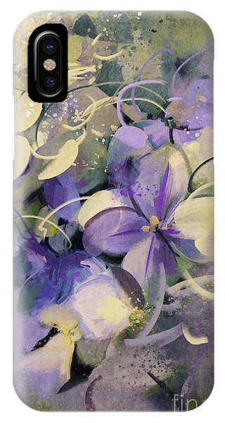 Floral Arrangement iPhone Case - Purple Flowers With Grunge Texture In by Tithi Luadthong