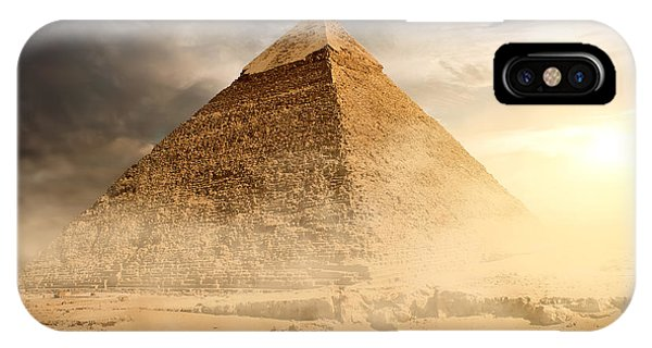 Egyptian iPhone X Case - Pyramid In Sand Dust Under Gray Clouds by Givaga